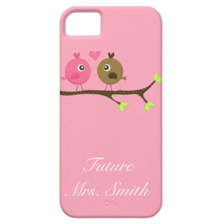 Pink and Brown Polka Dot Love Birds Future Mrs. iPhone 5 Case