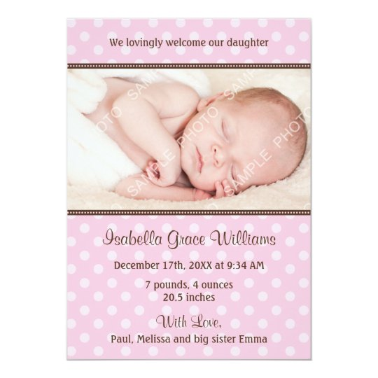 Pink and Brown Polka Dot Photo Birth Announcement