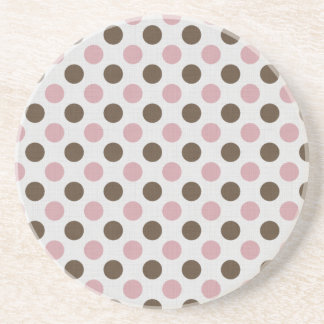 Pink And Brown Polka Dots Beverage Coasters