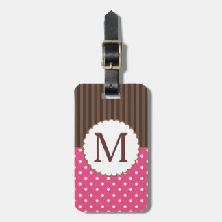 Pink And Brown Polka Dots Stripes Monogram Luggage Tag