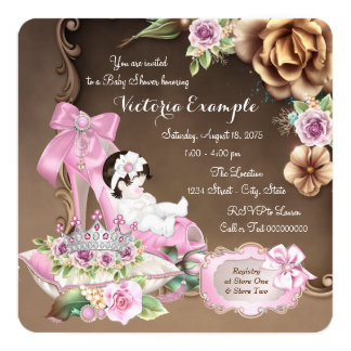 Pink and Brown Shoe Rose Baby Shower 13 Cm X 13 Cm Square Invitation Card