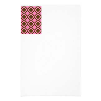 pink and brown squares or diamonds personalized stationery