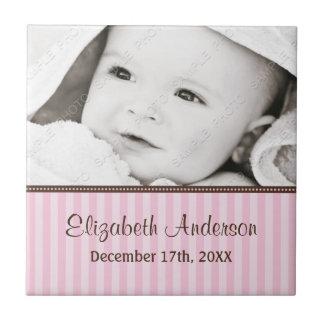 Pink and Brown Stripes Baby Photo Keepsake Ceramic Tile