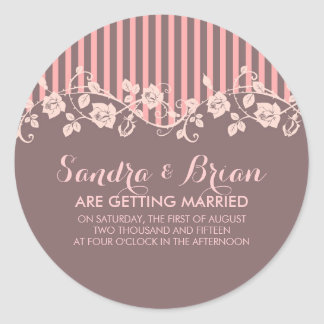 Pink And Brown Stripes & Floral Lace Round Sticker