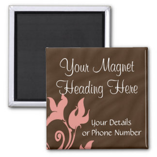 Pink and Brown Swirl Square Magnet
