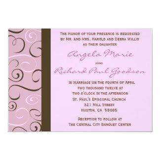"Pink and Brown Swirls Wedding  Invitation 5"" X 7"" Invitation Card"