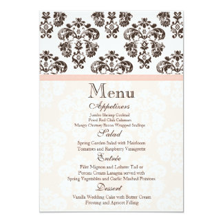 Pink and Brown Vintage Damask Wedding Menu Card 13 Cm X 18 Cm Invitation Card