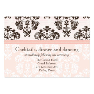 Pink and Brown Vintage Damask Wedding Reception Ca Pack Of Chubby Business Cards