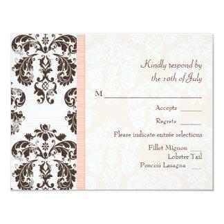 Pink and Brown Vintage Damask Wedding RSVP Cards 11 Cm X 14 Cm Invitation Card