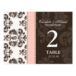 Pink and Brown Vintage Damask Wedding Table Number Postcard