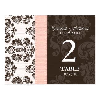 Pink and Brown Vintage Damask Wedding Table Number Postcard