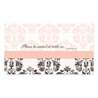 Pink and Brown Vintage Damask Wedding Table Place  Business Card Templates