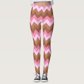 Pink and Brown Zig Zag Leggings