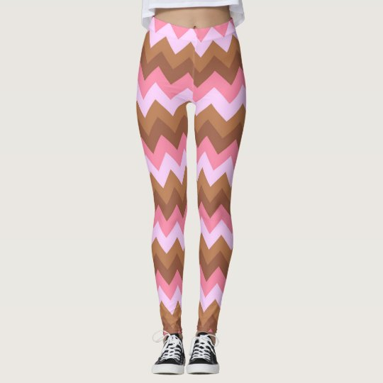 Pink and Brown Zig Zag Leggings