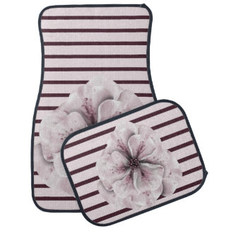 Pink and Burgundy Floral Stripe Car Mat