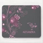 Pink And Burgundy Retro Flowers Brown Background Mousemat