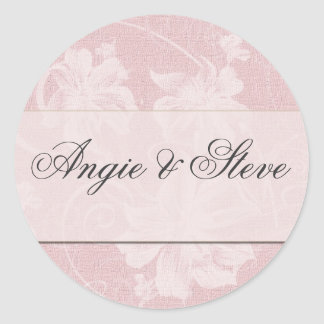 Pink and charcoal gray damask wedding stickers