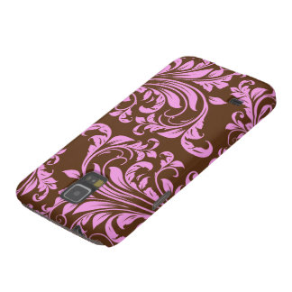 Pink and Chocholate Brown Damask Pattern Cases For Galaxy S5
