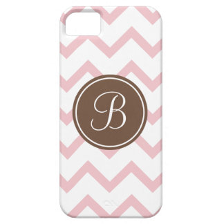 Pink and chocolate brown monogram iPhone 5 cover