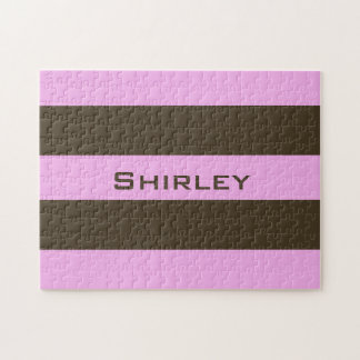 Pink and Chocolate Brown Wide Stripes by STaylor Jigsaw Puzzle