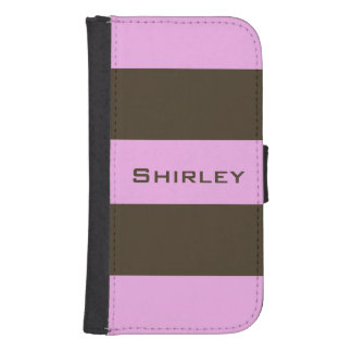 Pink and Chocolate Brown Wide Stripes by STaylor Samsung S4 Wallet Case