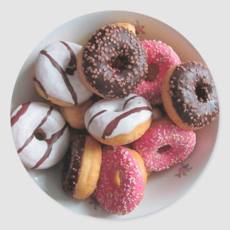 Pink and Chocolate Donuts Foodie Dessert Stickers