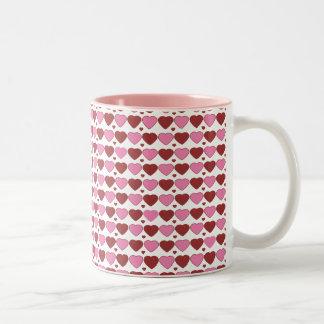 Pink and chocolate hearts. Two-Tone coffee mug