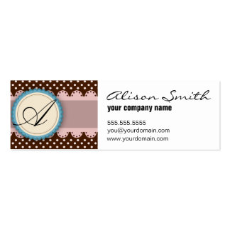 Pink and chocolate monogram business cards