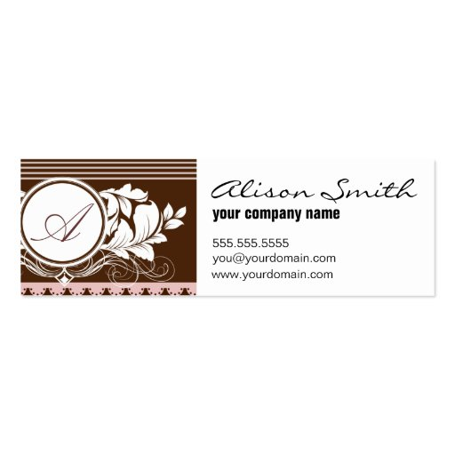 Pink and chocolate victorian monogram business card templates