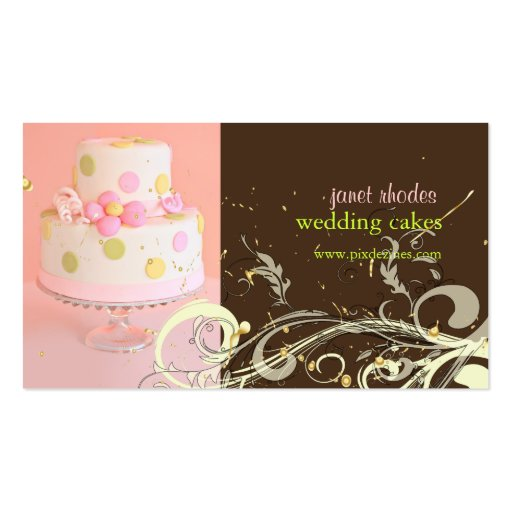 wedding cake business cards pink and chocolate wedding cake business cards zazzle 22132