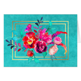 Pink and Coral Flowers on Turquoise Watercolor Card