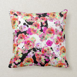Pink and Coral Spring Floral on Black and White Cushion