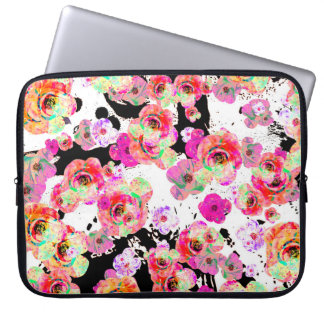 Pink and Coral Spring Floral on Black and White Laptop Sleeve