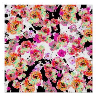 Pink and Coral Spring Floral on Black and White Poster