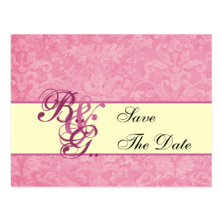 Pink and Cream Damask Save Date Postcard