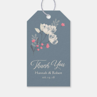 Pink And Cream Floral Wedding Favor Gift Tags