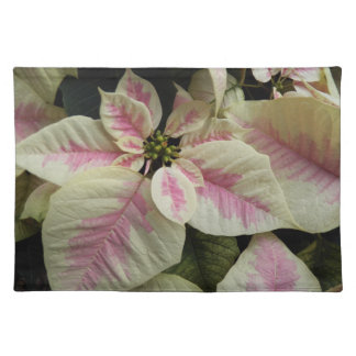 Pink and Cream Poinsettias Holiday Cloth Placemat