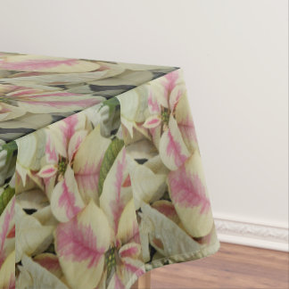 Pink and Cream Poinsettias Holiday Tablecloth