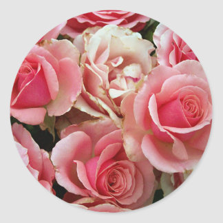 Pink and Cream Roses Bouquet Floral Flowers Classic Round Sticker