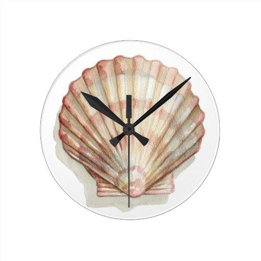 Pink and cream seashell wall clock zazzle for Seashell wall clock