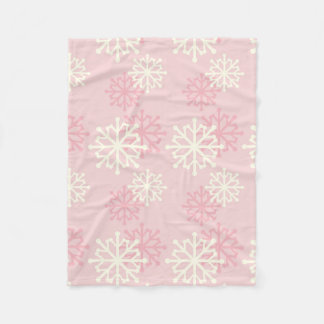 Pink and Cream Snowflake Fleece Throw Blanket