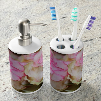 PINK AND CREAM SOAP DISPENSE AND TOOTHBRUSH HOLDER