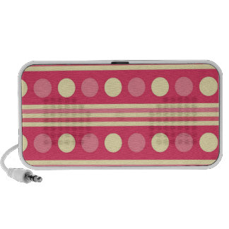 Pink and Cream Stripes and Polka Dots PC Speakers