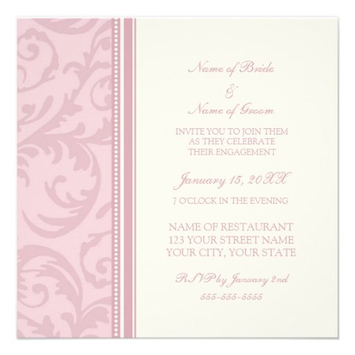 Pink and Cream Swirl Engagement Party Invitations