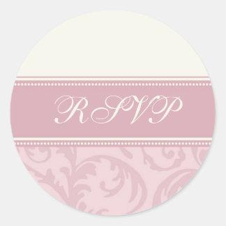 Pink and Cream Swirls Wedding RSVP Envelope Seals Round Sticker