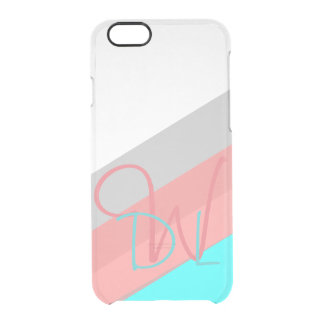 Pink and Cyan Stripes | Monogram Clear iPhone 6/6S Case