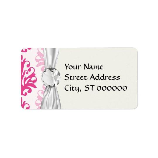 Pink and dark pink boho chic damask address label