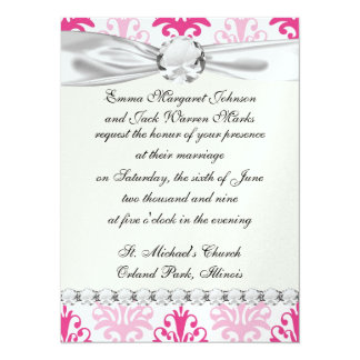 Pink and dark pink boho chic damask custom announcement