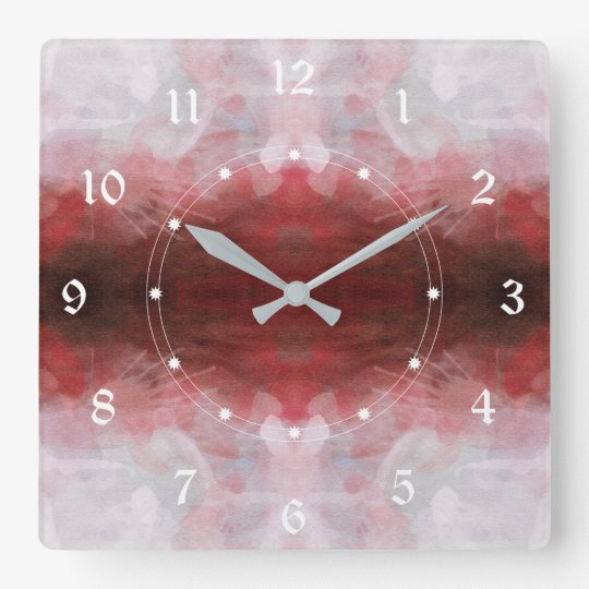 Pink And Dark Red Gradient Square Wall Clock