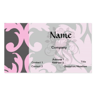 pink and deep gray large damask business card